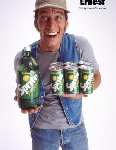 Ernest holding Sprite soda
